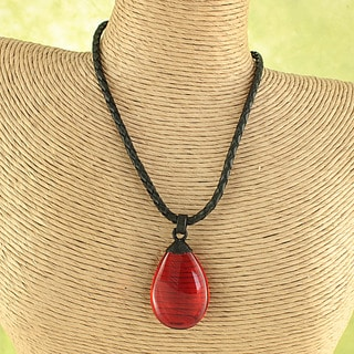 Handtied Ruby Red Baltic Amber Wave Leather Cord Necklace ( Lithuania)