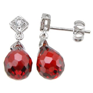 Sterling Silver Simulated Ruby and Cubic Zirconia Earrings