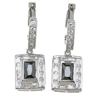 Sterling Silver Simulated Sapphire Fashion Bezel Earrings