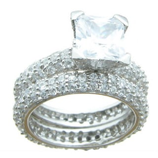 Sterling Silver Princess and Round Clear Cubic Zirconia Bridal-style Ring Set