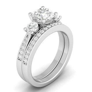 Sterling Silver Round Cubic Zirconia 3-stone Bridal-style Ring Set