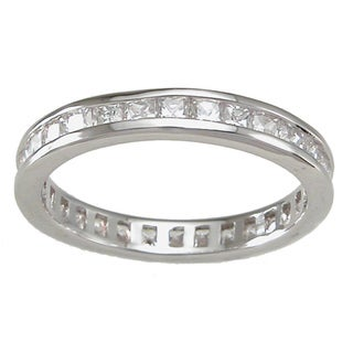 Sterling Silver Princess-cut Clear Cubic Zirconia Eternity Band