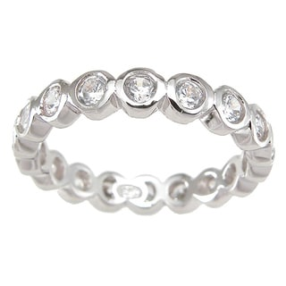 Sterling Silver Clear Round-cut Cubic Zirconia Eternity Band