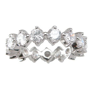 Sterling Silver Round-cut Cubic Zirconia Eternity Wedding-style Band