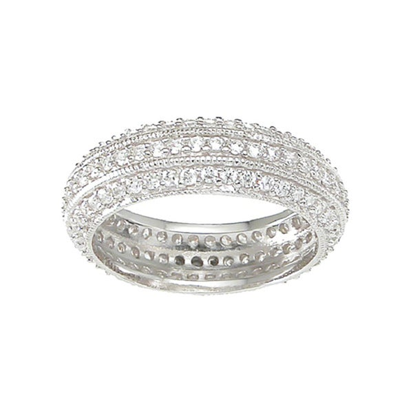 Sterling Silver Round-cut Cubic Zirconia Eternity Band