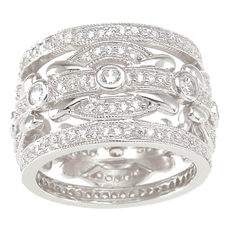 Sterling Silver White Round-cut Cubic Zirconia Wedding-style Band