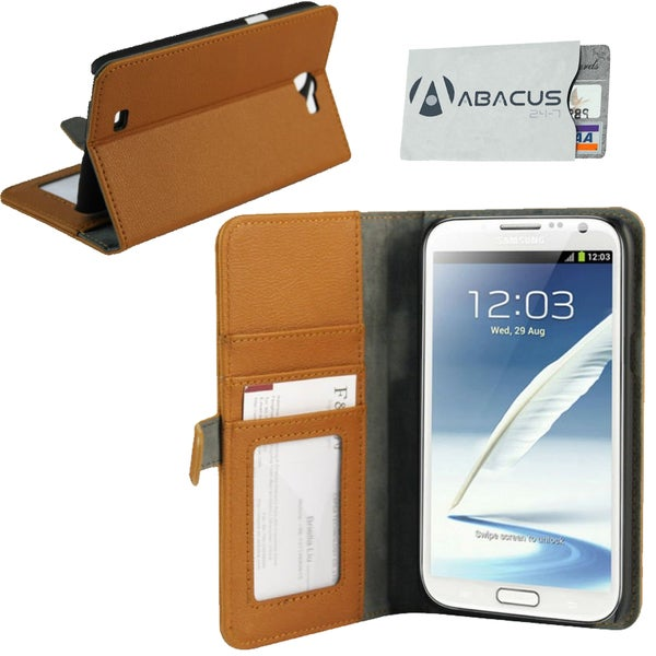 Deluxe Samsung Galaxy Note II Brown Stand Case
