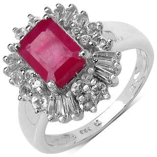 Malaika Sterling Silver 3 1/5ct TGW Ruby and White Topaz Ring