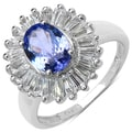 Malaika Sterling Silver 2 1/8ct TGW Tanzanite and White Topaz Ring