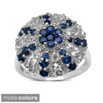 Malaika Sterling Silver 2 1/6ct TGW Sapphire or Ruby and White Topaz Ring