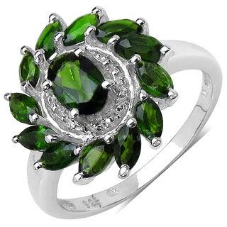 Malaika Sterling Silver 1 2/5ct TGW Chrome Diopside Ring