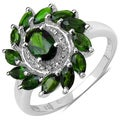 Malaika Sterling Silver 1 2/5ct TGW Chrome Diopside Ring