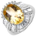 Malaika Sterling Silver 7ct TGW Citrine and White Topaz Ring