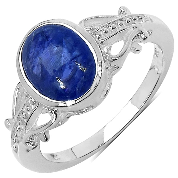 Malaika Sterling Silver 2-1/2ct TGW Purple Tanzanite Ring