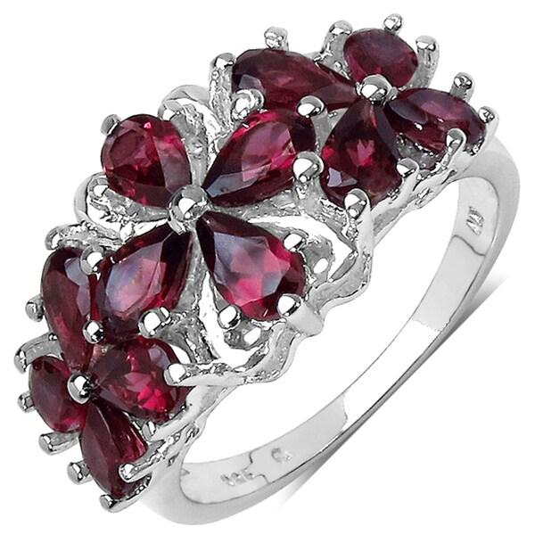 Malaika Sterling Silver 3ct TGW Rhodolite Ring