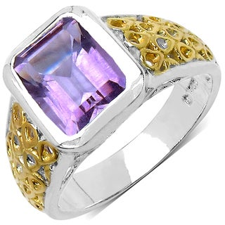 Malaika Two-tone Sterling Silver 2 5/8ct TGW Amethyst Ring