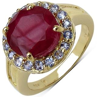 Malaika 14k Yellow Gold over Silver 6 1/8ct TGW Ruby and Tanzanite Ring