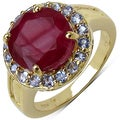 Malaika 14k Yellow Gold over Silver 6 1/8ct TGW Ruby and Tanzanite Ring