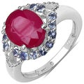 Malaika Sterling Silver 3 3/4ct TGW Ruby and Tanzanite Ring