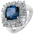 Malaika Sterling Silver 5 1/3ct TGW Blue and White Topaz Ring
