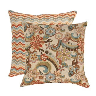 Pillow Perfect Floral Splash/ Wave Multicolored Decorative Pillow (Set of 2)