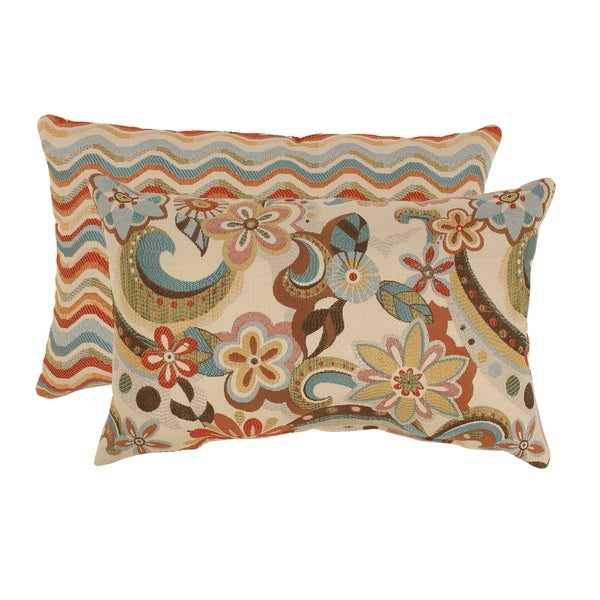 Pillow Perfect Floral Splash/ Wave Rectangular Multicolored Throw Pillows (Set of 2)