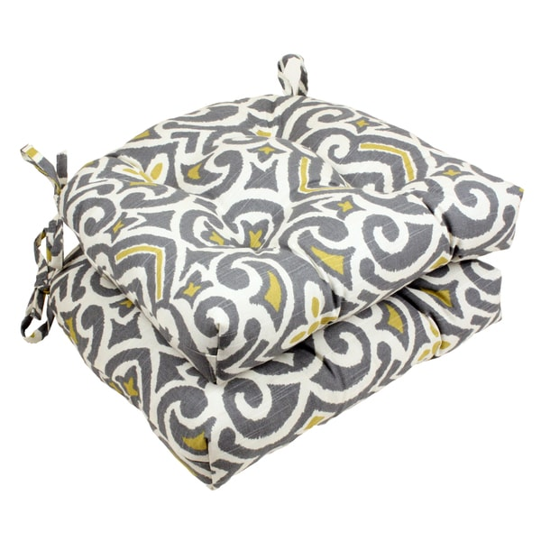 Pillow Perfect Gray/ Greenish-Yellow Damask Reversible Chair Pad (Set of 2)