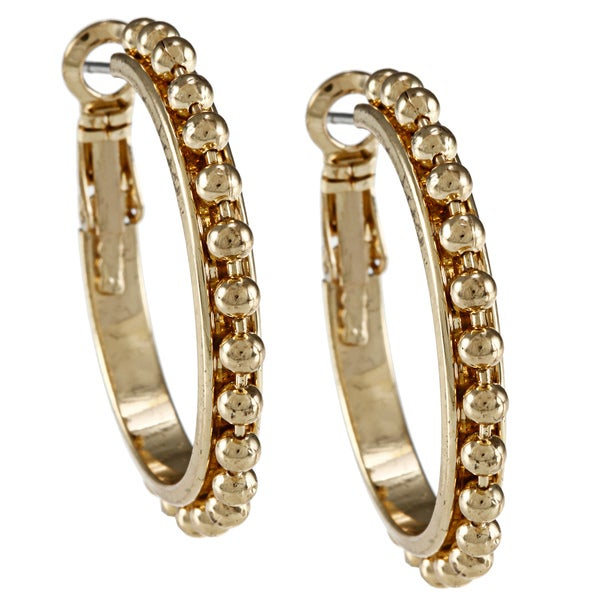 Alexa Starr Goldtone Ball Chain Hoop Earrings