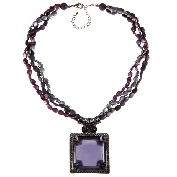 Alexa Starr Silvertone Purple Lucite and Faux Pearl 3-row Necklace