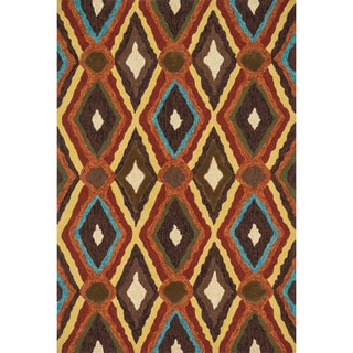 Indoor/Outdoor Hand-hooked Portia Brown Rug (7'6 x 9'6)