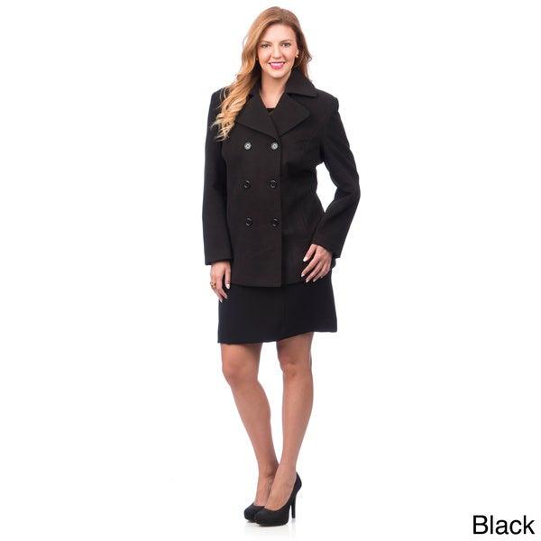 Fourteen-Zero Women's Classic Plus-size Double-breasted Pea Coat