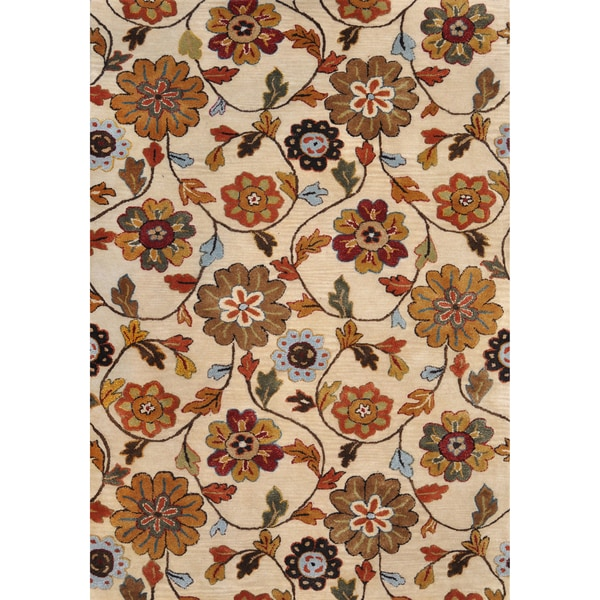 Hand-Tufted Fawkes Ivory Floral Wool Rug