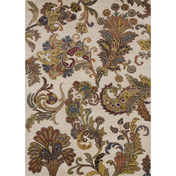 Hand-tufted Fawkes Ivory Wool Rug