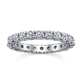 14k White Gold 1 1/3 to 1 1/2ct TDW Diamond Eternity Wedding Band (H-I, I1-I2)