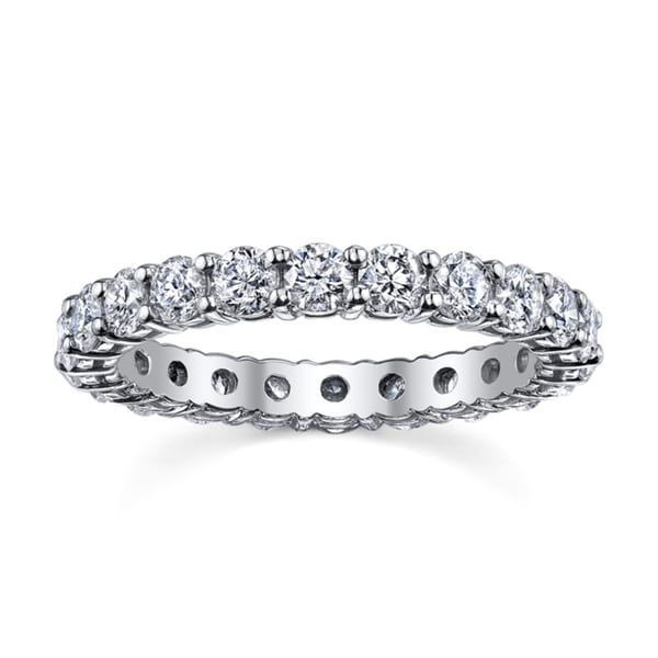 14k White Gold Diamond Full Eternity Wedding Band (H-I, I1-I2)