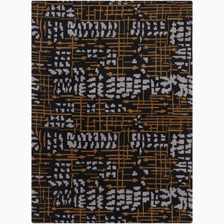 Mandara Hand-tufted Abstract Black Wool Rug (9' x 13')