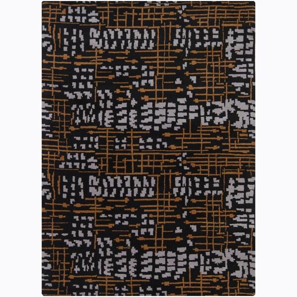 Mandara Hand-tufted Abstract Black Wool Rug (9' x 13')