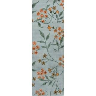 Mandara Hand-tufted Floral Blue Wool Rug (2'6 x 7'6)