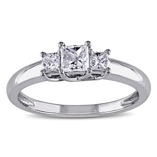 Miadora 14k White Gold 1/2ct TDW Diamond Three-stone Ring (G-H, I1-I2)