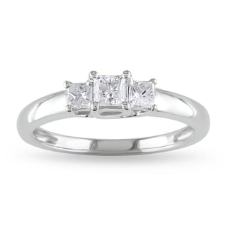 Miadora 14k White Gold 1/2ct TDW Diamond Three-stone Ring (G-H, I1-I2) with Bonus Earrings