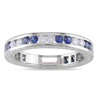 Miadora 18k White Gold Sapphire and 1/2ct TDW Diamond Ring (H-I, SI2) with Bonus Earrings