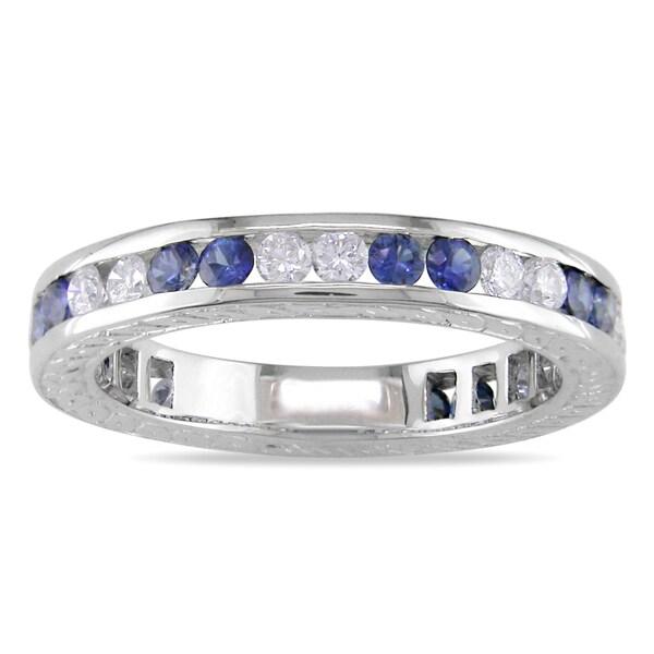 Miadora 18k White Gold Sapphire and 1/2ct TDW Diamond Ring (H-I, SI2)