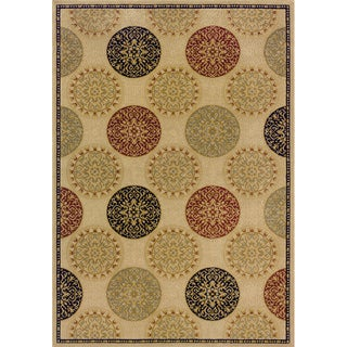 Indoor Beige/ Red Transitional Area Rug (5'3 x 7'6)