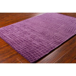 Mandara Hand-Tufted Geometric Purple Wool Rug (5' x 7'6