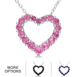 M by Miadora Sterling Silver 1 1/2ct TGW Gemstone Heart Pendant Necklace