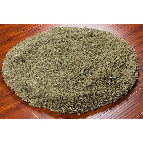 Mandara Handwoven Green Cotton/Polyester Shag Rug (4' Round)