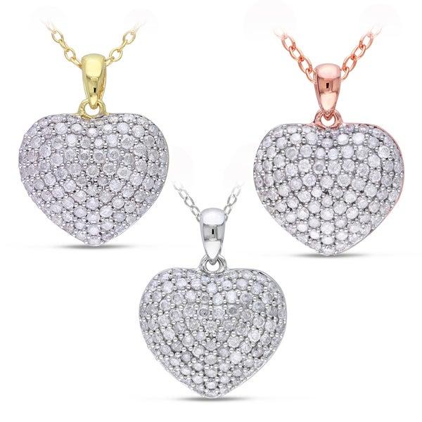 Miadora Multi-Silver 1ct TDW Diamond Heart Necklace (H-I, I2-I3)