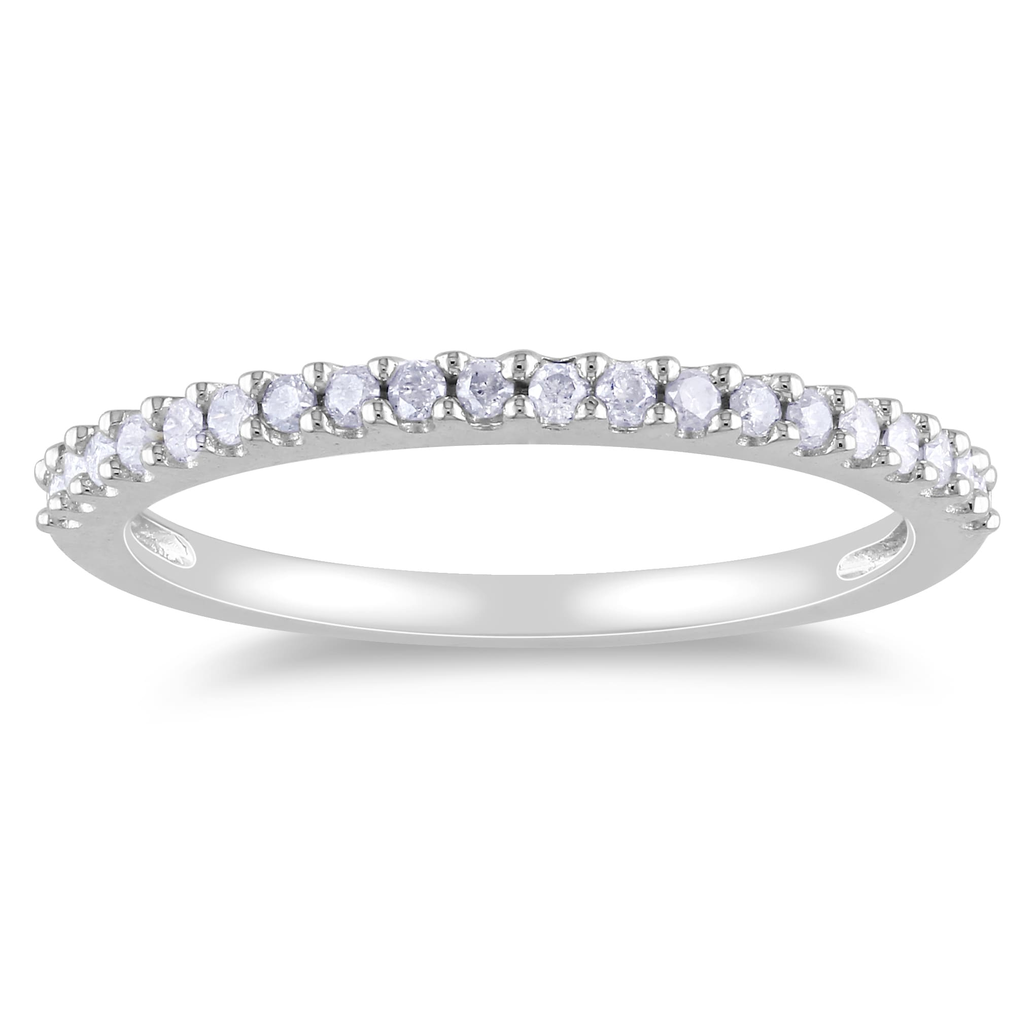 Miadora 10k White Gold 1 5ct TDW Diamond Eternity Wedding Band Ring Oversto