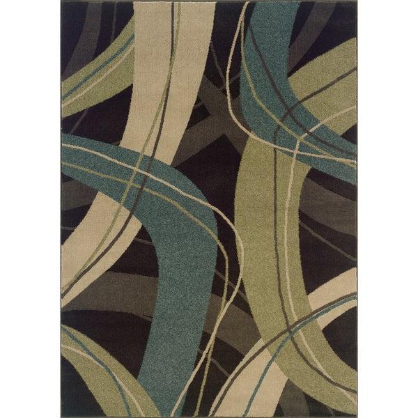 Indoor Brown/ Beige Contemporary Area Rug (5'3 x 7'6)