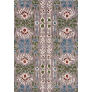 Mandara Gray-Background Hand-Tufted Abstract Wool Rug